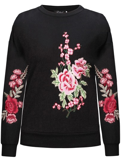 Straight Pullover Embroidery Women's Sweatshirt