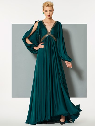 A-Line Backless Empire Sequins V-Neck Evening Dress
