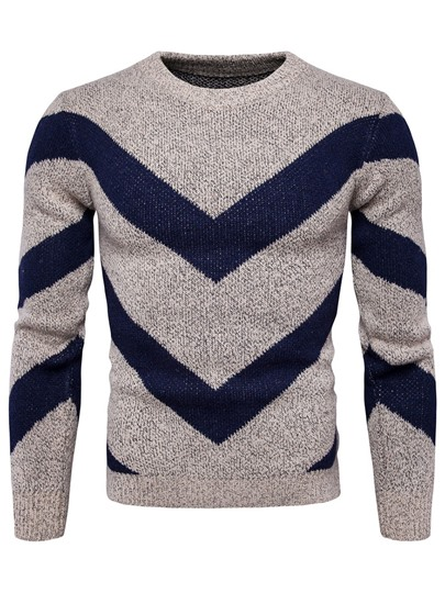 England Style Patchwork Plain Slim Fit Men's Sweater