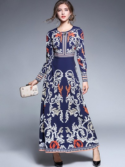 Blue Rhinestones Decorated Palace Style Women's Maxi Dress