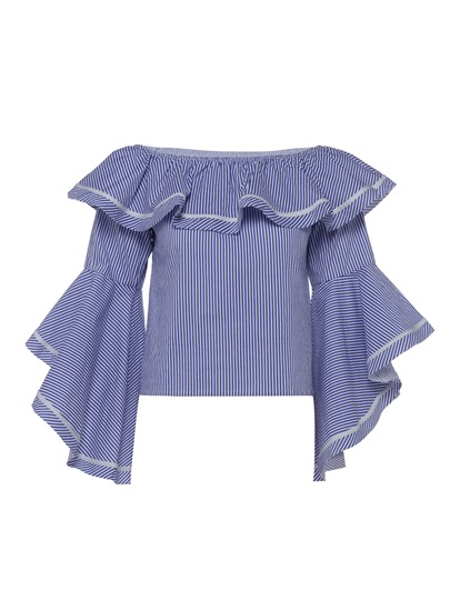 Stripe Slash Neck Plus Size Women's Blouse