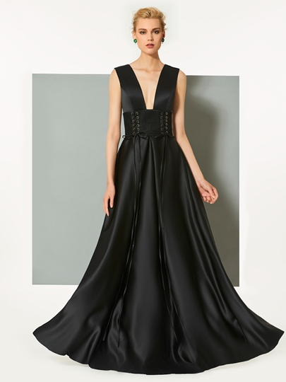 A-Line Deep V-Neck Backless Floor-Length Evening Dress