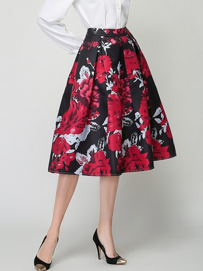 Expansion Floral Print High-Waist Women's Skirt