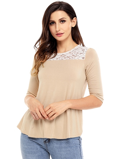 Lace Hollow Backless Women's T-Shirt