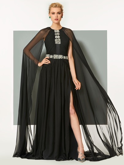 A-Line Long Sleeves Beaded Split-Front Scoop Evening Dress