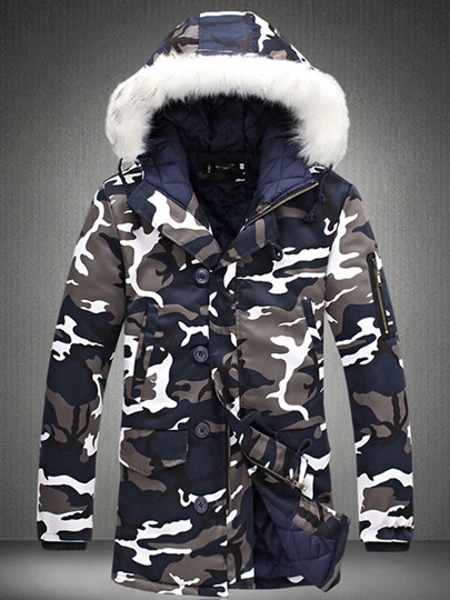 Faux Fur Hooded Camouflage Men's Quilted Coat