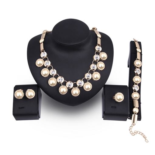 Overgild Alloy Diamante Bamboo Chain Jewelry Sets