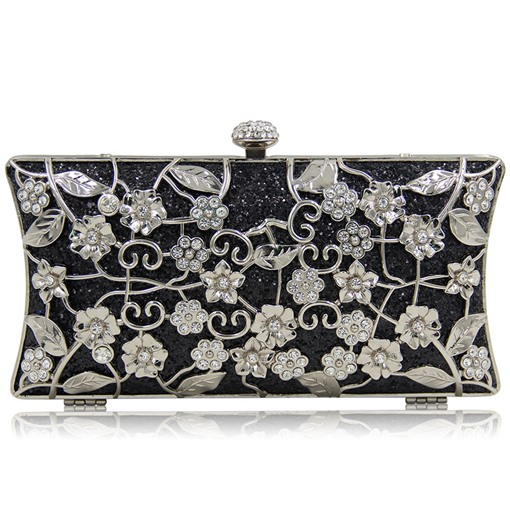 Luxurious Sequins Floral Rhinestone Evening Clutch