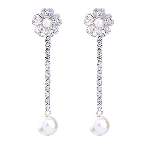 Flower Rhinestone Diamante Alloy Pearl Inlaid Earrings
