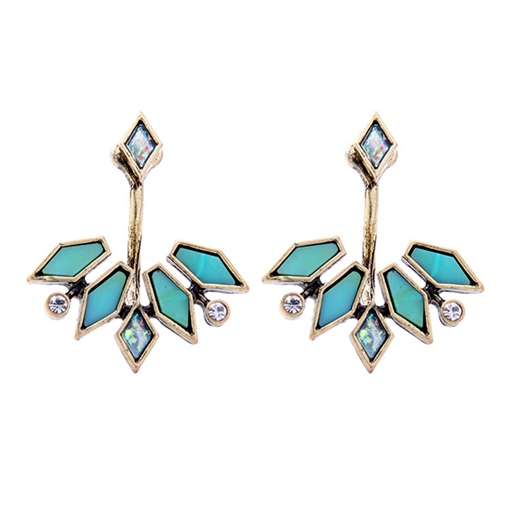 Irregular Leaf Rhinestone Diamante Alloy Earrings
