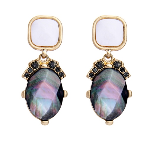Shell Shaped Diamante Alloy Rhinestone Earrings