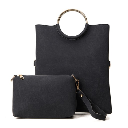 Korean Style Solid Color Ring Handle Bag Set