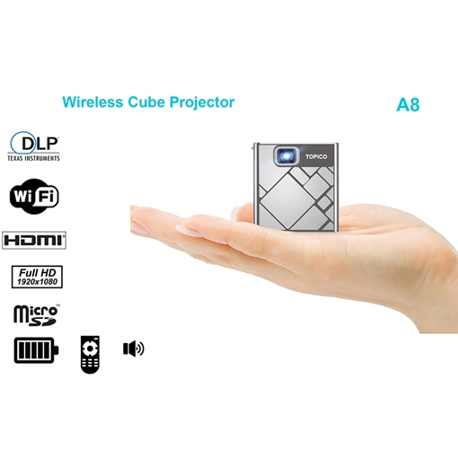 A8 Micro Portable Projector Home DLP HD 1080P Business Office
