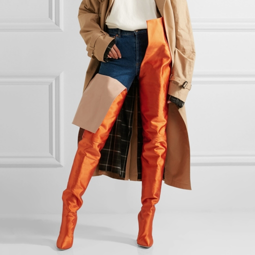 Slip-On Plain Orange Fashion Stiletto Heel Thigh High Metallic Boots