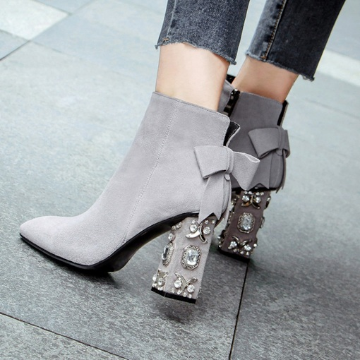 Ankle Boots Chunky Heel Bow Rhinestone Women's Fashion Shoes