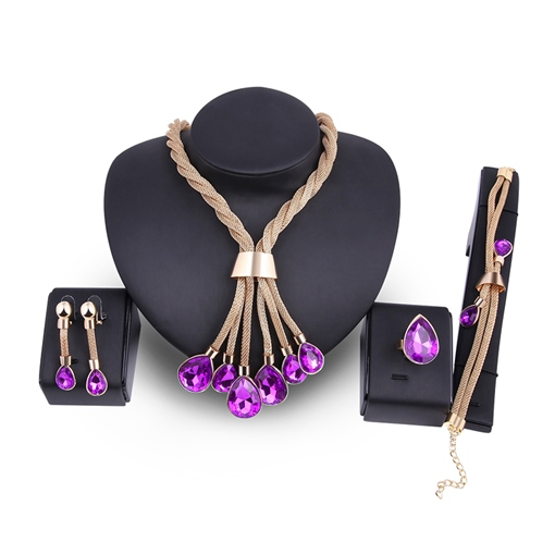 Rhinestone Water Drop Ultra Violet Alloy Jewelry Sets
