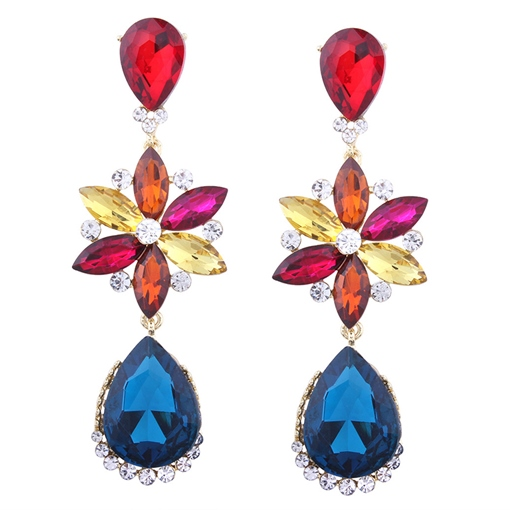 Alloy Rhinestone Diamante Water Drop Earrings