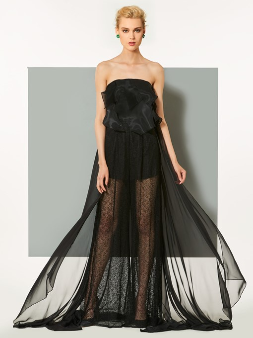 Strapless Lace A-Line Ruffles Court Train Evening Dress
