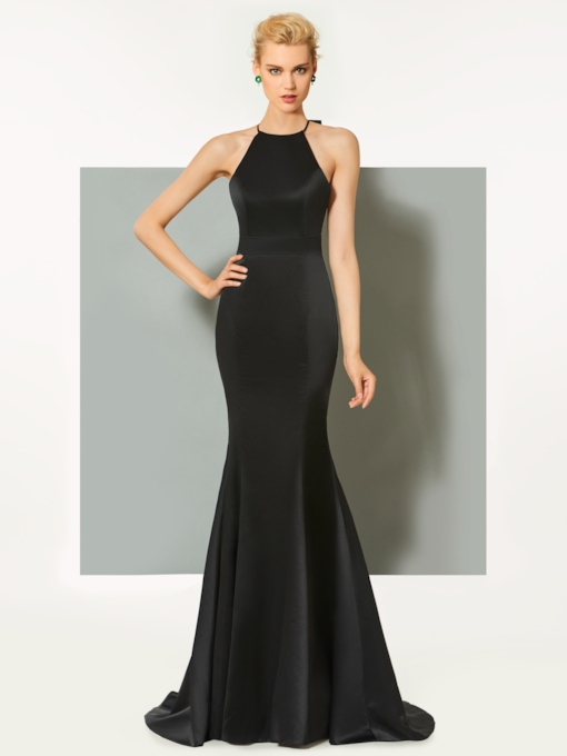 Mermaid Sheath Scoop Bowknot Sweep Train Evening Dress