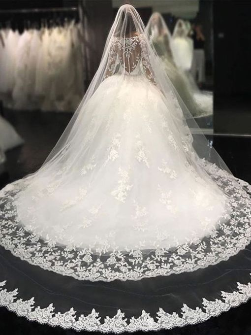 Appliques Beading Ball Gown Wedding Dress with Long Sleeve