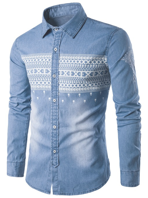 Unique Stripe Print Men's Denim Shirt