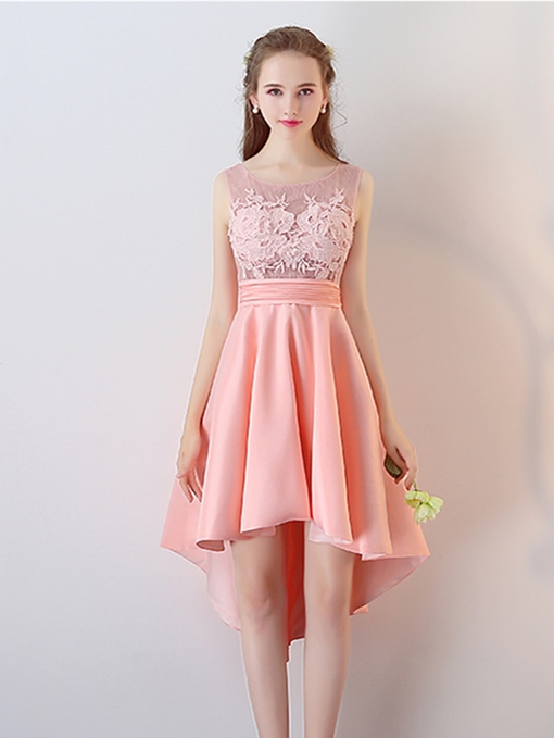 Appliques Lace Pleats Scoop Homecoming Dress