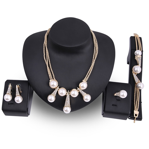 Pearl Inlaid Alloy Link Chain Diamante Jewelry Sets