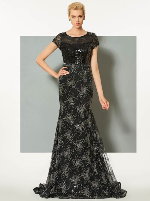 Scoop Mermaid Lace Sequins Short Sleeves Brush Train Evening Dress