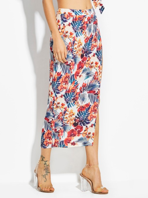 Plant Print Chiffon Ankle-Length Women's Vacation Skirt