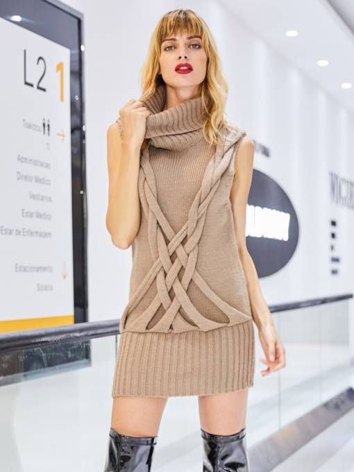Turtleneck Sleeveless Knitting Women's Sweater
