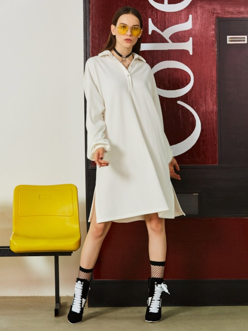 Mid-Length Slit Lapel Plain Women's Shirt