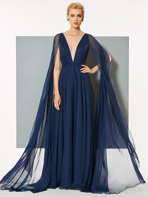 A-Line Deep V-Neck Backless Sweep Train Evening Dress
