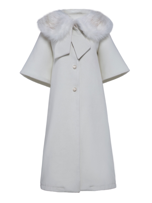 Faux Fur Collar Buttons Women's Overcoat
