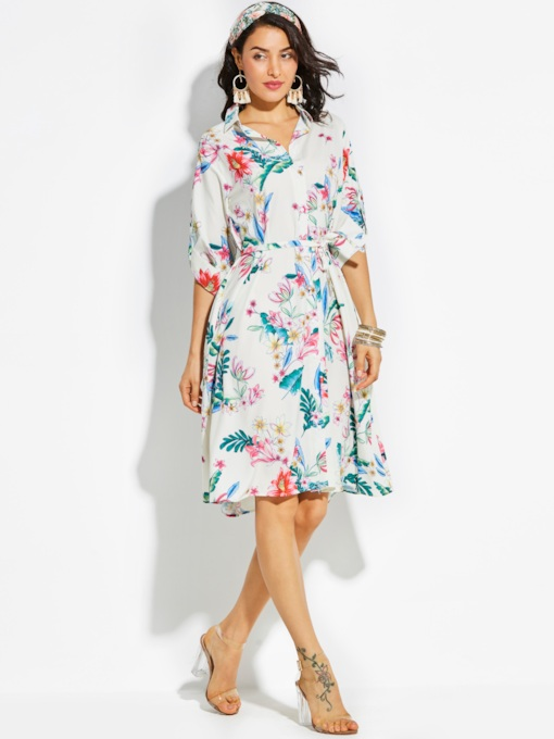 Lapel Single-Breasted Vacation Flower Print Women's A-Line Dress