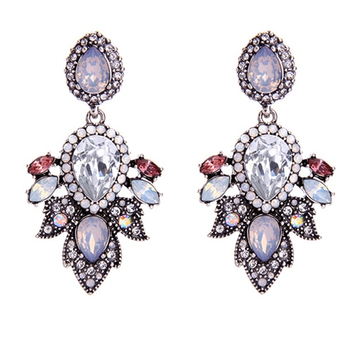 Water Drop Diamante Rhinestone Alloy Vintage Earrings