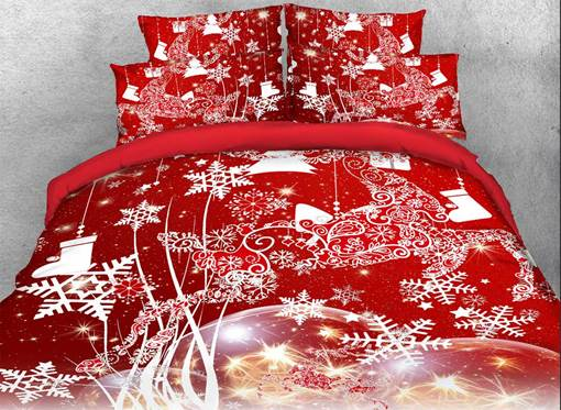 3D Christmas Reindeer and Snowflake Printed Cotton Red Bedding Sets