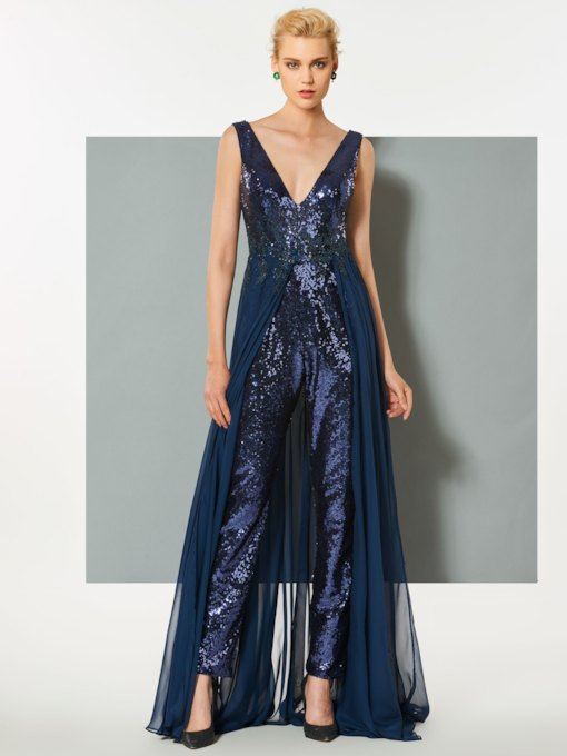 Low Back Sequins Evening Jumpsuits with Train