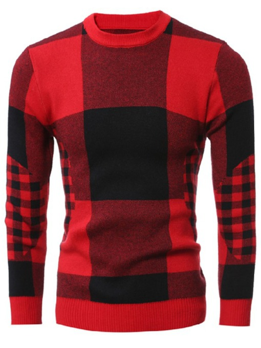Round Collar Classic Plaid Warm Down Slim Men's Casual Sweater