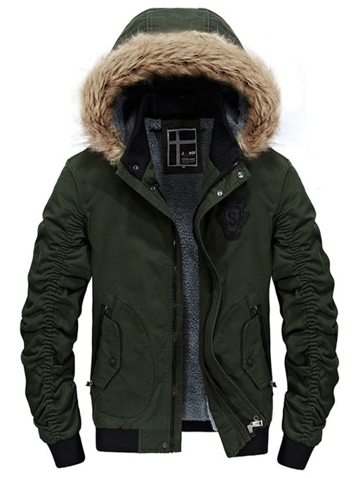 Faux Fur Hooded Warm Slim Men's Winter Jacket