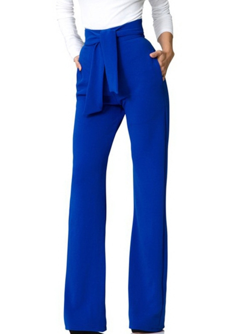High Waisted Lace-Up Pocket Women's Palazzo Pants
