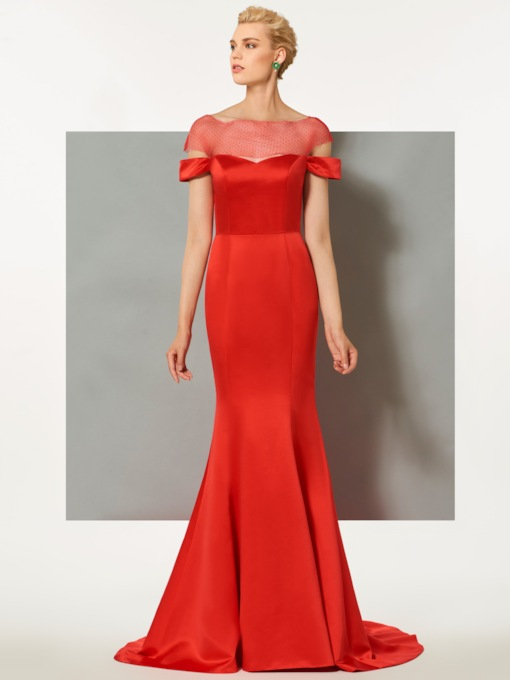 Memaid Short Sleeves Bateau Button Sweep Train Evening Dress