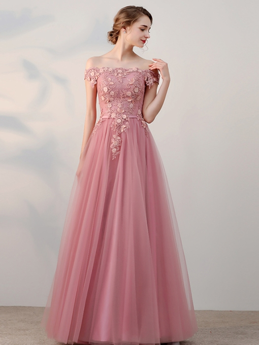 A-Line Off-the-Shoulder Beading Flowers Pearls Sashes Short Sleeves Prom Dress