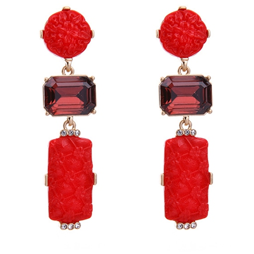 Reshin Alloy Emerald Synthetic Stones Earrings