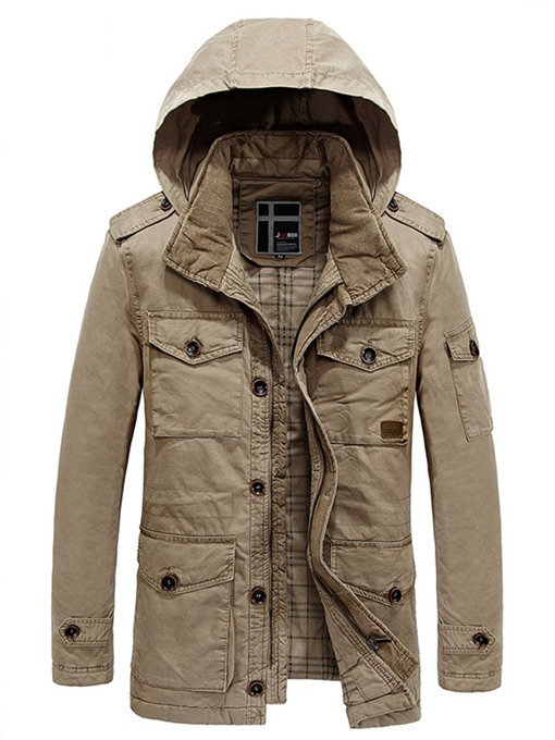 Hooded Multi Pocket Warm Casual Men's Winter Coat