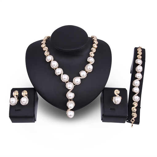 Twist Arm Pearl Inlaid Diamante Alloy Jewelry Sets