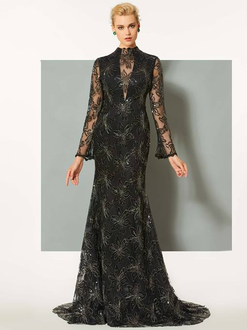 High Neck Lace Long Sleeves Mermaid Court Train Evening Dress