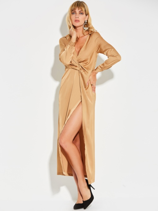 Khaki Long Sleeve Ruffled Women's Maxi Dress