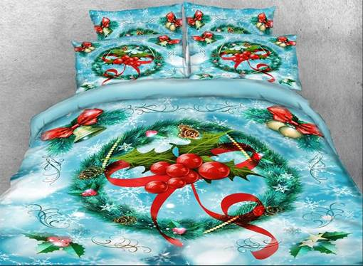 Holiday Landscape Modern Four-Piece Set 3D Floral Bedding Sets