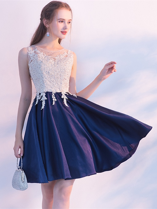 A-Line Scoop Appliques Beading Mini Homecoming Dress