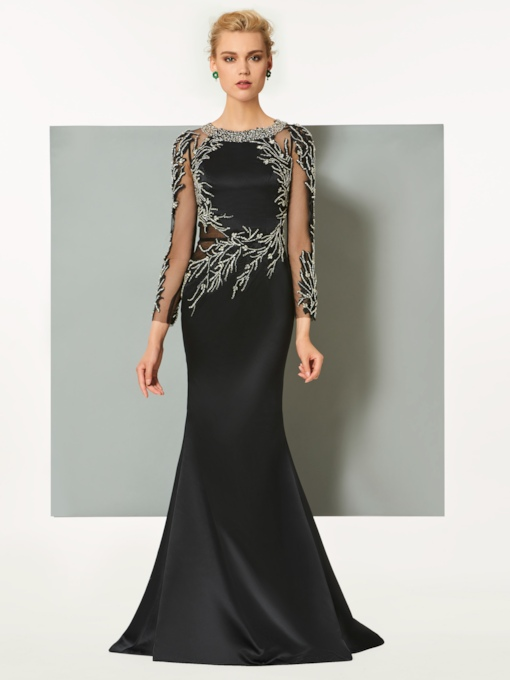 Long Sleeves Sheath Beaded Scoop Sweep Train Evening Dress